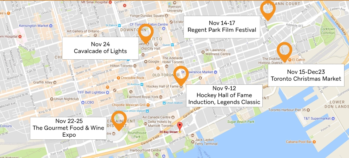 Toronto Map Events October and November