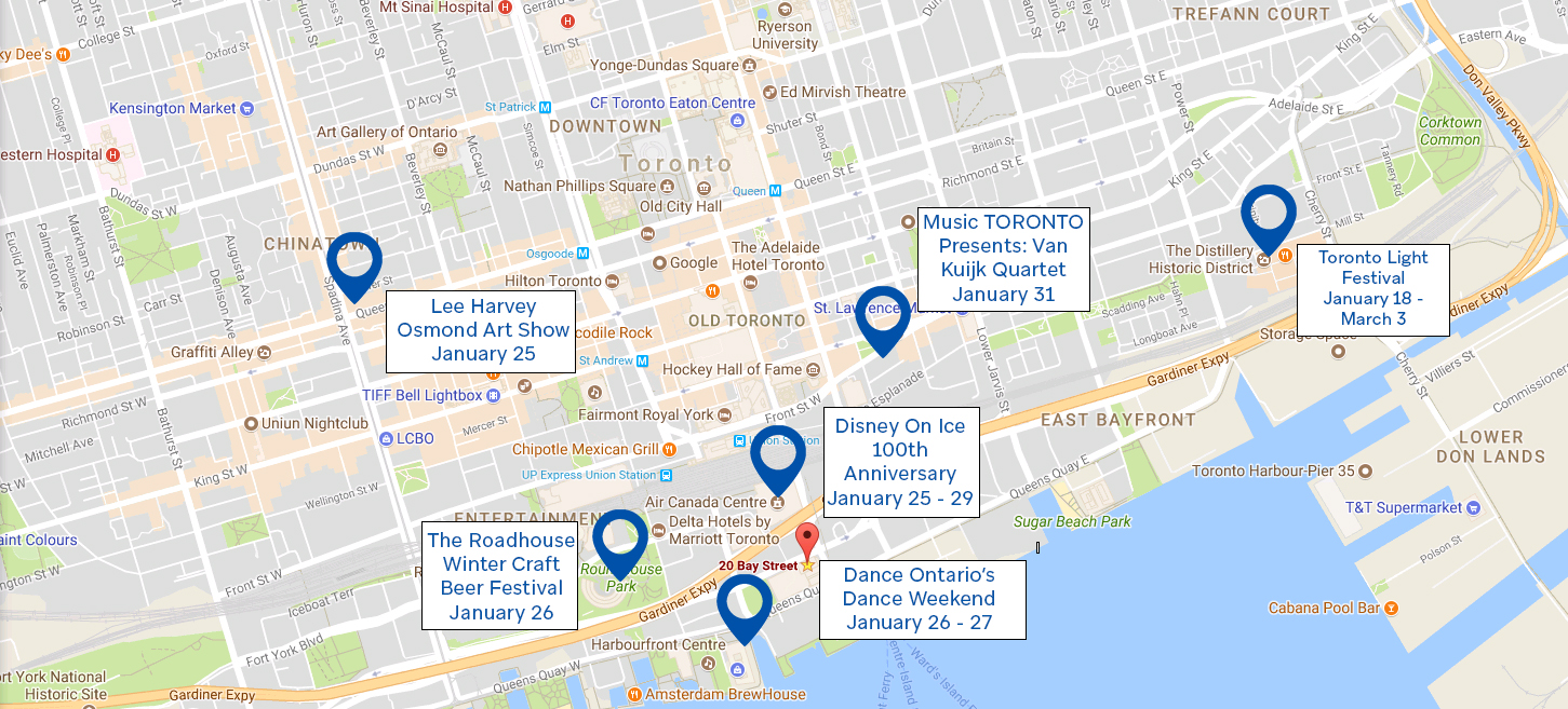 Rostie Group Scoop Toronto Map of Activities Winter 2019