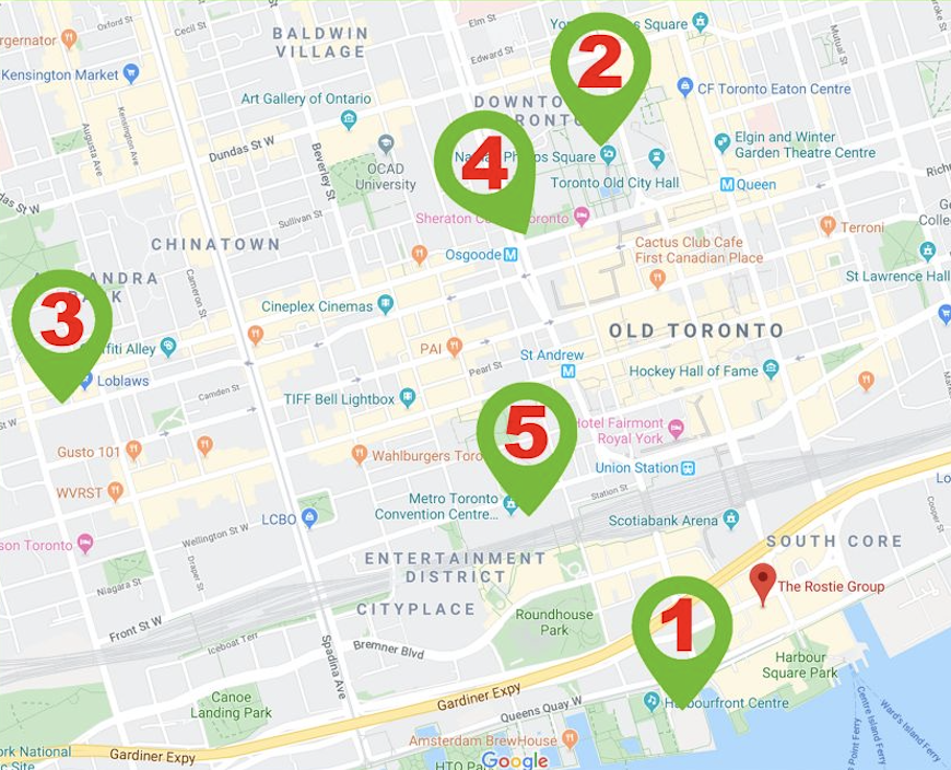 Toronto Map of events in December